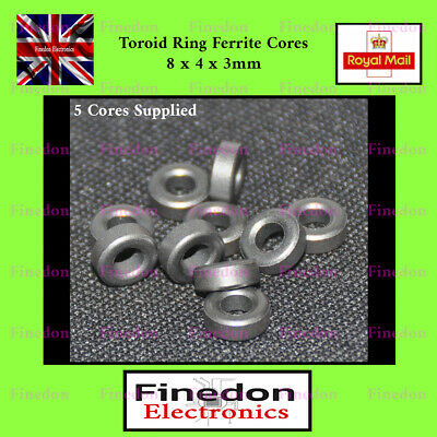 10 Qty Small Ferrite Rings Cores 8x4x3mm RF Filter Coupling Toroid UK Seller