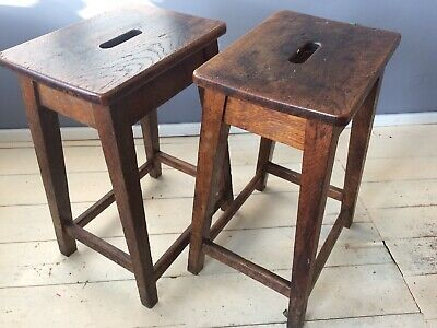Pair Matching VINTAGE OAK LABORATORY SCHOOL STOOLS