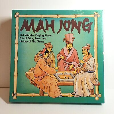 MAH JONG game set by MS 144 wooden pieces, VGC & additional vintage rule book
