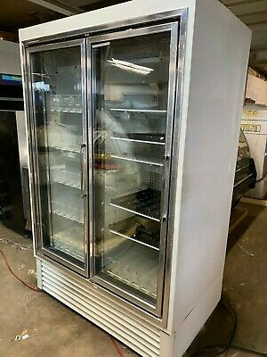 Hussmann HGM2BS Reach In Glass 2 Door White Commercial Cooler Refrigerator USA