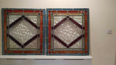 """2 x Reclaimed Vintage Stained Glass Window Panels (36"""" x 34"""")"""