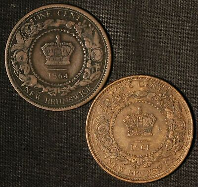 1861 and 1864 Canada New Brunswick One Cent Tokens - Free Shipping USA