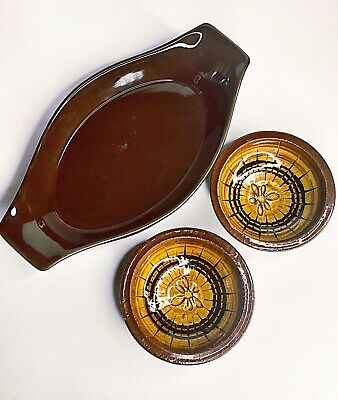 Vintage Valley Pottery Bowls X 2 + Enamelled Casserole Dish- Oven Proof AS New