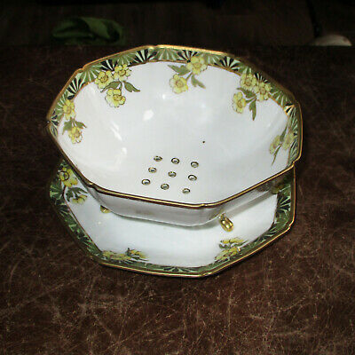 Big Antique Handpainted Nippon Japan 3-Footed Berry Strainer Bowl & Plate