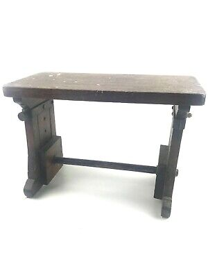 Antique Oak Adjustable Arts & Crafts Industrial Cricket Footstool Maine Estate