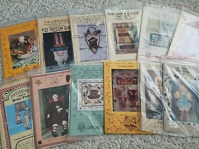 Primitive & Country Folk Art Quilt Sewing Woodworking Craft Patterns FLAT SHIP!