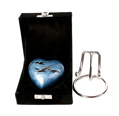 Heart Urn for Ashes Cremation Memorial Small Keepsake Blue Birds Heart Stand Box