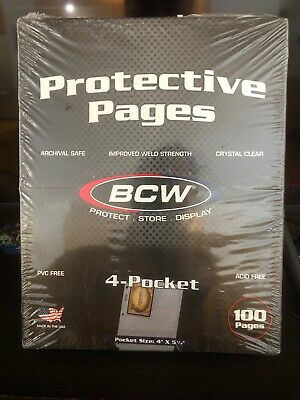Box of (100) BCW PRO 4-POCKET PHOTO BINDER PAGES 3.5 x 5.25