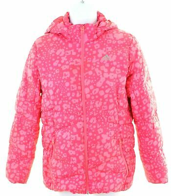 ADIDAS Girls Padded Jacket 11-12 Years Pink Polyester  BS02