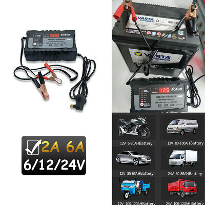 Auto Stop Intelligent Car Battery Charger Pulse Repair Starter 6/12V/24V AGM/GEL