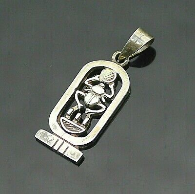 Beautiful Vintage Cut Through Egyptian Cartouche Scarab Sterling Silver Pendant