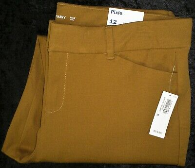 Womens Old Navy Mustard Yellow Gold Pixie Ankle Stretch Pants - NWT