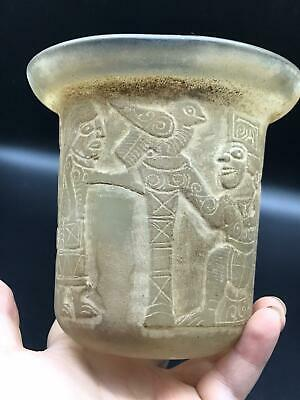 Museam Qulity Very Ancient Old Bactrain Complte King History Craved Glass Vase