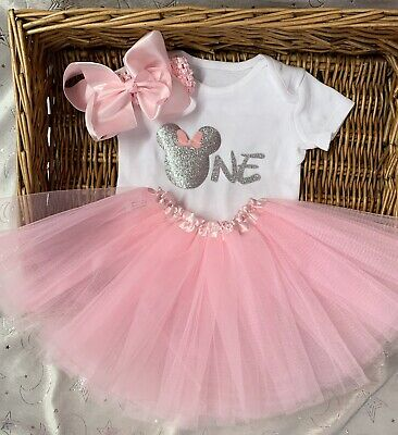 three four pink girl silver Minnie mouse princess birthday outfit age one two