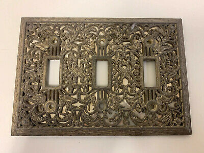 Vintage Brass Mid Century Floral Light Switch  Triple Cover Plate
