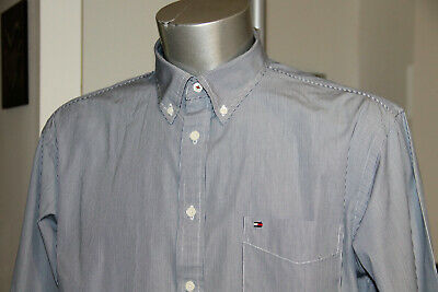 Pretty Shirt Blue Striped tommy hilfiger Custom Fit Size XL near Mint (NM)