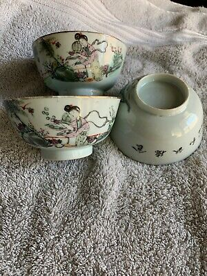 3 Beautiful Old Chinese Famille Rose Porcelain Bowls Marked