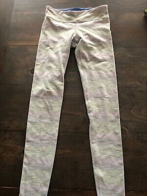 Lululemon Ivivva Rhythmic Leggings Girls 10 Pastel Stripe Pants Green Purple