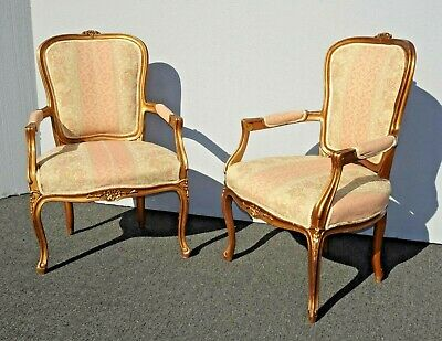 Pair of French Country Louis XVI Gold Rose Stripped Accent Chairs