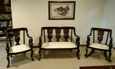 Empire Style Parlor Mahogany Set ~ Settee, Rocker and Armchair Clawfoot 1850's