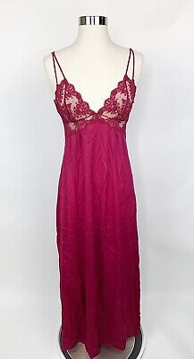 Vtg FORMFIT ROGERS Womens Red Maroon Nylon Sheer Nightgown Negligee Lace Sexy M