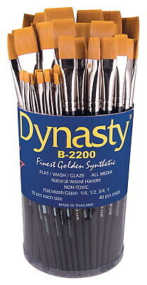Dynasty B-2200 Cylinder Golden Synthetic Short Lacquered Wood Handle Paint Brush