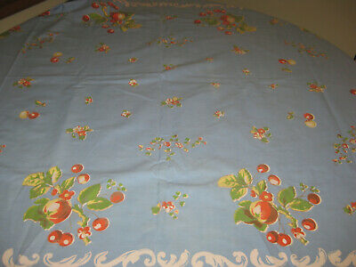 Vintage Printed Mid-Century Tablecloth Apples Cherries Blue Background