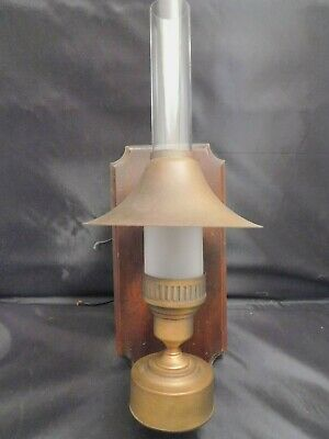 Vintage Antique Wood Wall Sconce Glass Lantern Unique Hurricane Lamp