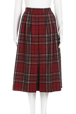 YVES SAINT LAURENT RIVE GAUCHE Red Plaid YSL Pleated Skirt IT 44 Vintage 8 Wool