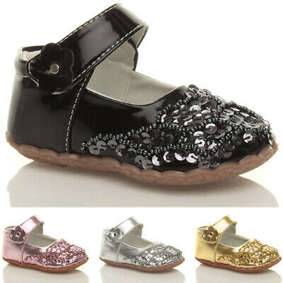 Girls baby kids infants sequin mary jane strap flower shoes booties size