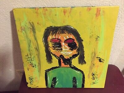 paintings on canvas hand painted portrait of a young lady. Bright colors
