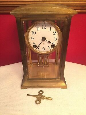 ANSONIA Antique BRASS CRYSTAL REGULATOR CLOCK Double Pendulum - RUNS