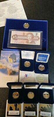 Canadian Commemorative Dollar Proof Coins Loonie & Toonie Lot
