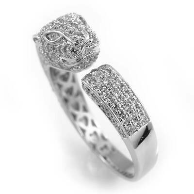 18K White Gold Plated Flooded Out Iced CZ Dual Panther Jaguar Band Silver Ring