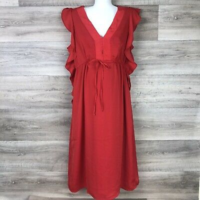 Motherhood Maternity Womens Size Medium  Dress RED ruffle sleeveless Spring
