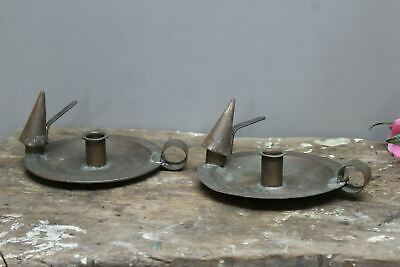 Pair Arts & Crafts Copper Candle Holders Wee Wille Winkie & Snuffer