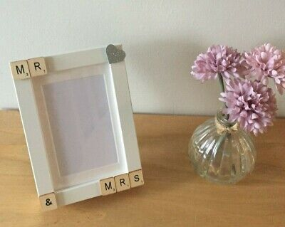 Scrabble Letters Word Art Mr & Mrs Picture Photo Frame, Wedding Gift