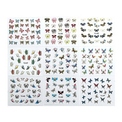 24 Sheets 3D Butterfly Nail Art Transfer Stickers Tips Decal Decoration De~PA