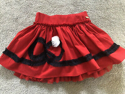 Ln A Dee Girls Red/Navy Bow Skirt Age 8 Small Fitting -7-8