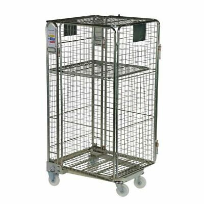 New Roll Pallet Mesh Infill Warehouse Nestable 4 Sided Metal Roll Cage Trolley