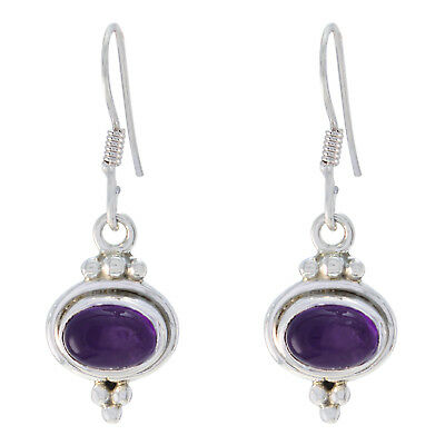handsome Amethyst 925 Sterling Silver Purple Earring genuine jewelry US gift