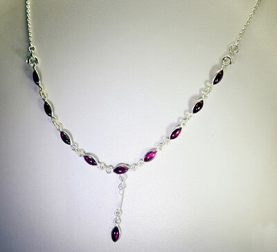 grand Garnet 925 Solid Sterling Silver Red Necklace genuine normaly US gift
