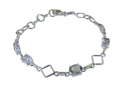 grand Green Amethyst 925 Solid Sterling Silver Green Bracelet genuine normaly US