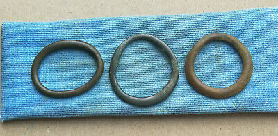 Lot of 3 Ancient Celtic Large Proto Money Bronze Rings Coins Circa 400 BC