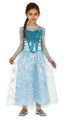 Girls Elsa Costume Princess Fancy Dress Kids Childs Outfit Ages 3-12