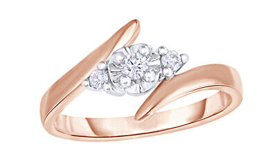 1/8 Ct Round Cut Real Diamond 3-Stone Bypass Engagement Ring In 10K Rose Gold