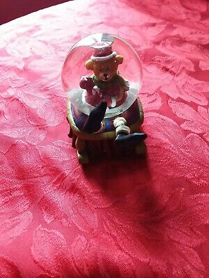 Vintage Snow Globe  Christmas teddy bear