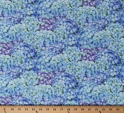 Cotton Hydrangea Birdsong Packed Flowers Floral Blue Fabric Print BTY D682.62