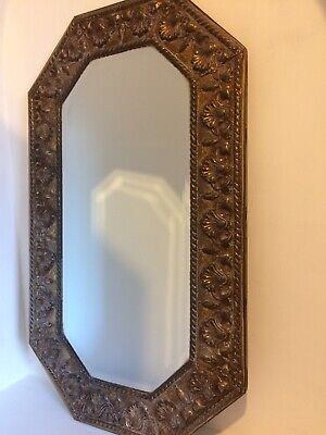 Arts And Crafts Wall Mirror. Brass Frame With Stylish Shell Design