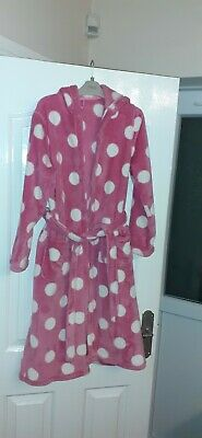 M&S Girls Pink Hooded Dressing Gown Age 11-12year